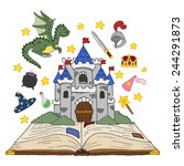 set open fantasy book about... | Shutterstock .eps vector #244291873