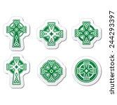 irish  scottish celtic cross on ...   Shutterstock .eps vector #244293397