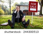 worried real estate agent and...   Shutterstock . vector #244300513