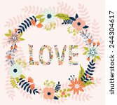 beautiful greeting card with... | Shutterstock .eps vector #244304617