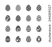easter eggs icons set.