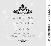 wedding card or invitation with ... | Shutterstock .eps vector #244322743