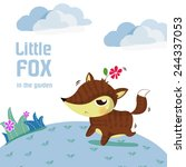 little fox lovely play in the... | Shutterstock .eps vector #244337053