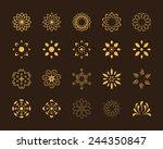 Stock vector set of abstract lotus vector symbols 244350847