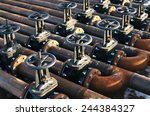 oil and gas pipe line valves | Shutterstock . vector #244384327