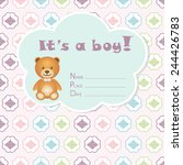 baby boy arrival card. baby... | Shutterstock .eps vector #244426783