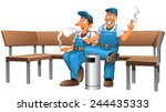 men who smoke   Shutterstock .eps vector #244435333