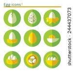 egg icon set. flat folded... | Shutterstock .eps vector #244437073