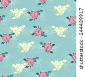 seamless floral vector... | Shutterstock .eps vector #244439917