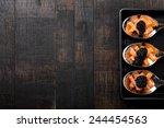 salmon and caviar on elegant...   Shutterstock . vector #244454563