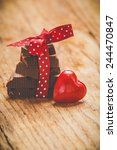 Chocolate With Ribbon And Hear...