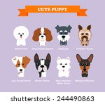 Stock vector set of flat design compositions with cute dogs vector set of icons and illustrations 244490863