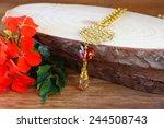 antique vintage necklace on... | Shutterstock . vector #244508743