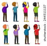 eight faceless young men... | Shutterstock .eps vector #244511137