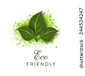 green leaves on splash with eco ... | Shutterstock .eps vector #244524247