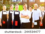 large group of waiters and... | Shutterstock . vector #244534477