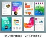 set of flyer  brochure design... | Shutterstock .eps vector #244545553