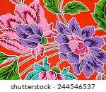 multicolored batik textile | Shutterstock . vector #244546537