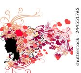 female silhouette with floral... | Shutterstock .eps vector #244551763