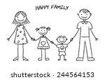 happy family sketch | Shutterstock .eps vector #244564153