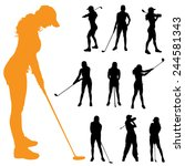 vector silhouette of a woman... | Shutterstock .eps vector #244581343