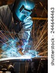 worker with protective mask... | Shutterstock . vector #244644463