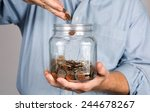 man drops money into a glass... | Shutterstock . vector #244678267