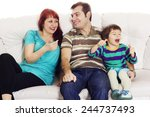 father  mother and son sitting...   Shutterstock . vector #244737493