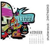 page astrological calendar.... | Shutterstock .eps vector #244746043
