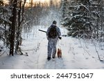 hunter comes out of the winter...   Shutterstock . vector #244751047