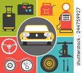 car travel flat  icons | Shutterstock .eps vector #244759927