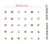 medicine colored line icons set.... | Shutterstock .eps vector #244769677