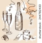 glass of champagne and a... | Shutterstock .eps vector #244782433