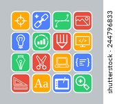set of simple icons for web... | Shutterstock .eps vector #244796833