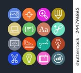 set of simple icons for web... | Shutterstock .eps vector #244796863