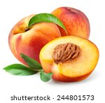 Peach. Fruits With Leaves...