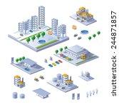 set of isometric buildings ... | Shutterstock .eps vector #244871857