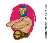 mexican wrestler pose vector...   Shutterstock .eps vector #244875223