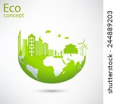 environmentally friendly world. ... | Shutterstock .eps vector #244889203