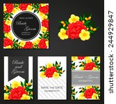 set of invitations with floral... | Shutterstock .eps vector #244929847