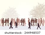 people silhouettes outdoors | Shutterstock .eps vector #244948537