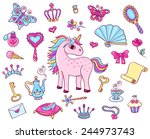 cute princess set with unicorn. ... | Shutterstock .eps vector #244973743