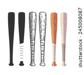 baseball bats set  different... | Shutterstock .eps vector #245008087