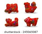 twelve zodiacs   chinese... | Shutterstock . vector #245065087