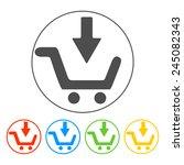 shopping cart flat icon. set...