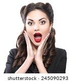 surprised retro woman. retro... | Shutterstock . vector #245090293