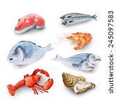 seafood products set with...