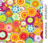 colorful floral seamless... | Shutterstock .eps vector #245120227