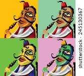 hookah man abstract art  vector ... | Shutterstock .eps vector #245130367