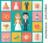 wedding icons set. bride  groom ... | Shutterstock .eps vector #245135863